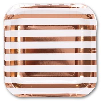 Тарелка фольгирован розовое золото 17см 6шт