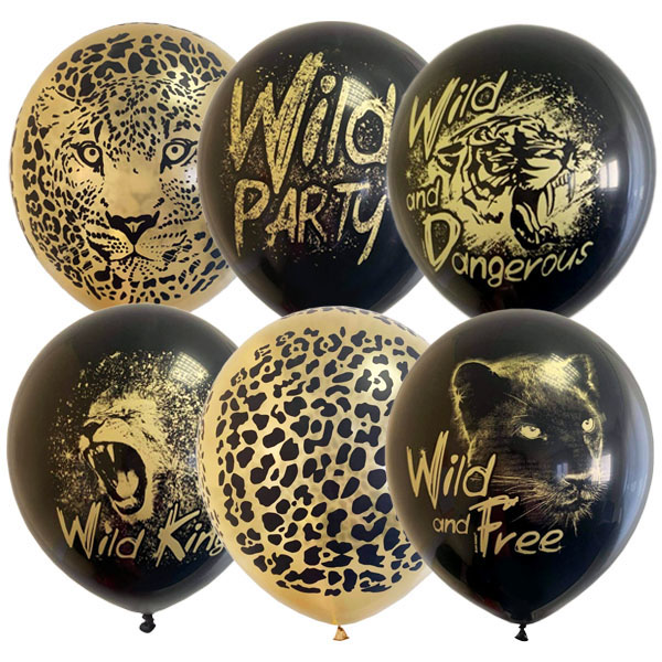 """12""""/30см BLACK&GOLD ассорти рис Wild Party 25 шт"""