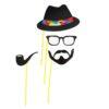 """Набор аксессуаров для фотосессии на палочке """"Мистер"""", 4 предмета: шляпа, очки, усы, трубка 1019767"""